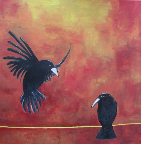 crow on a wire - SOLD